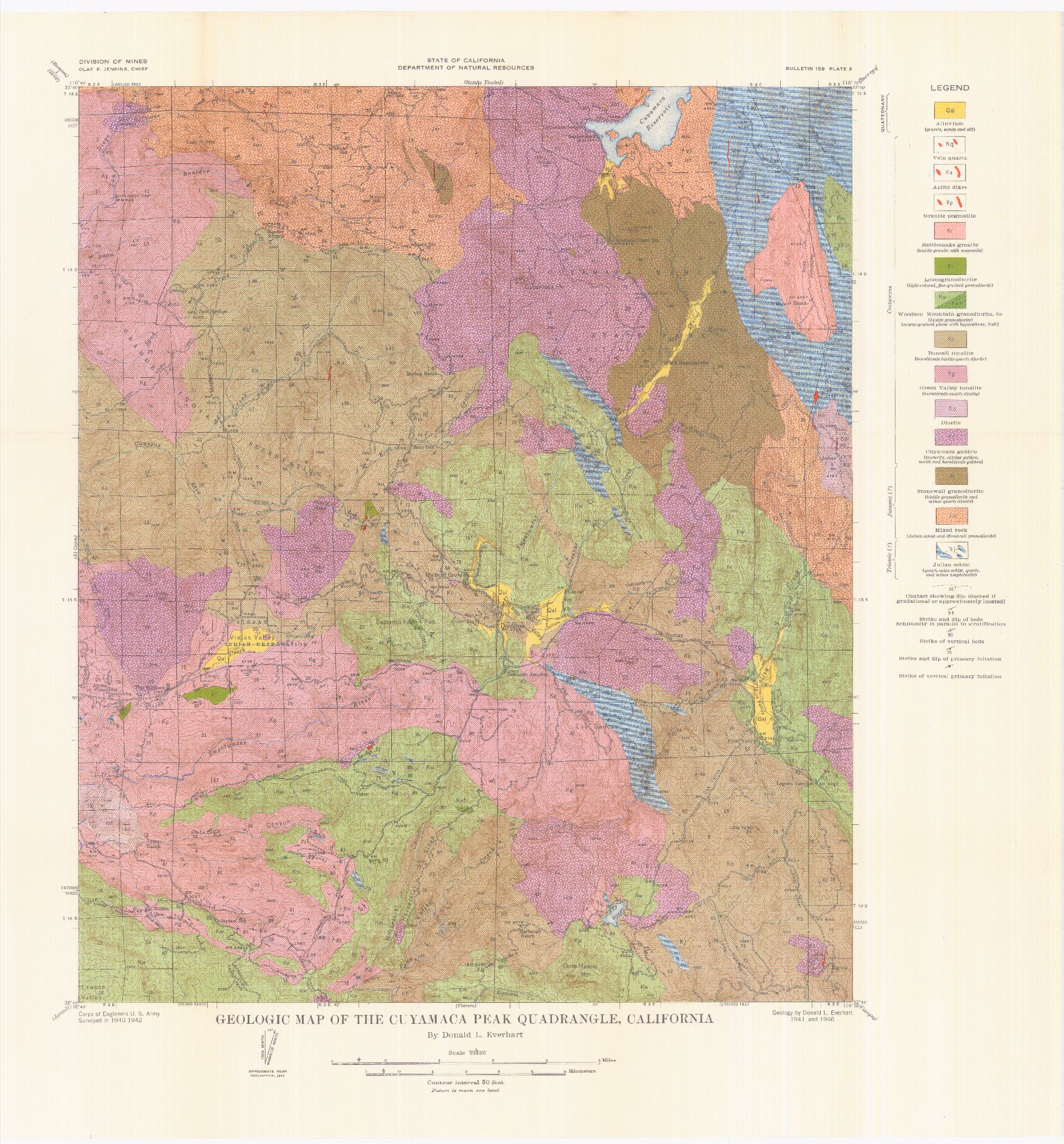 SDAG Online Historical Geological Maps San Diego County - California geologic map
