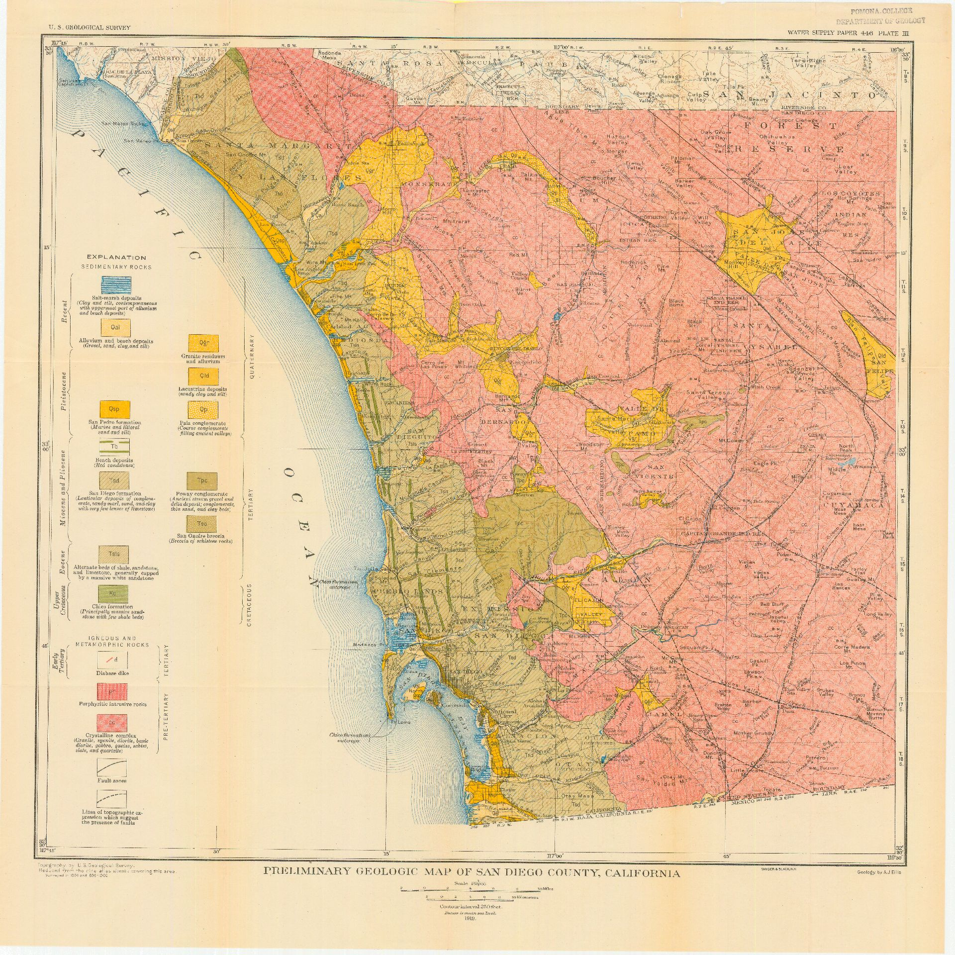 California Map San Diego County.Sdag Online Historical Geological Maps San Diego County