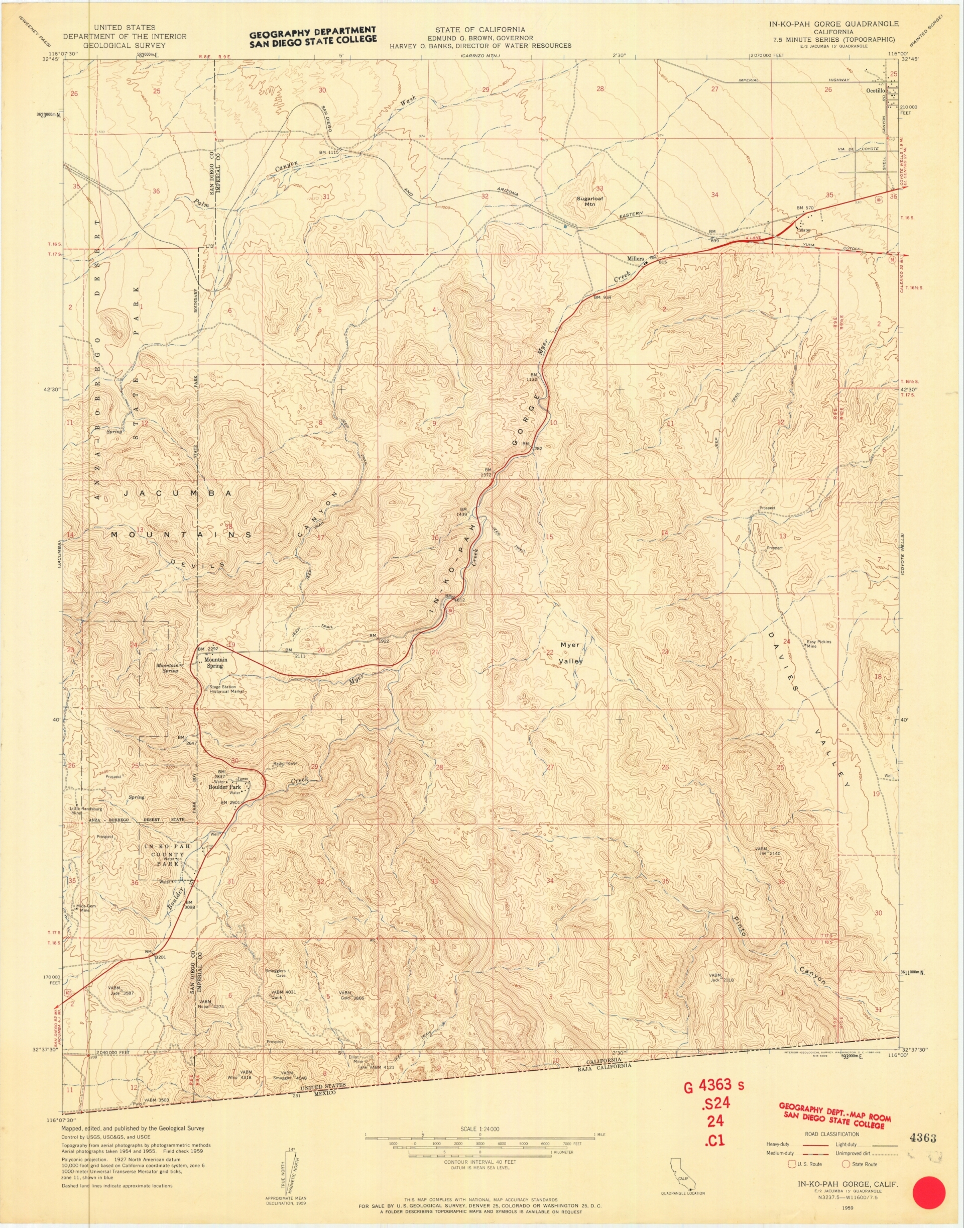 SDAG - Online Historical Topographic Maps, San Diego County