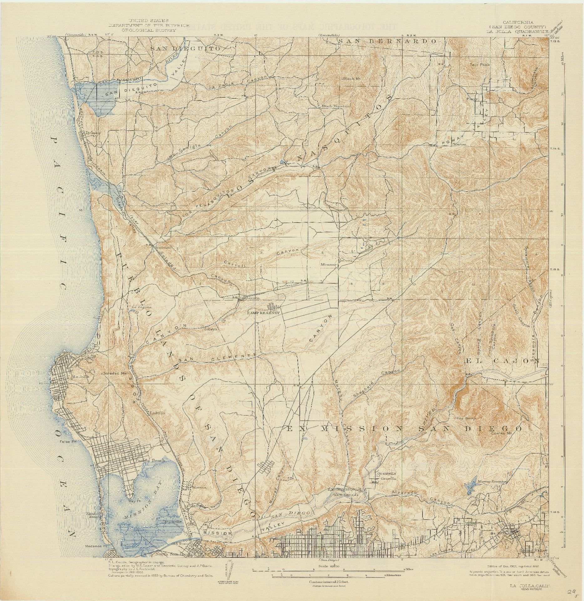 Topographic Map Of San Diego.Sdag Online Historical Topographic Maps San Diego County